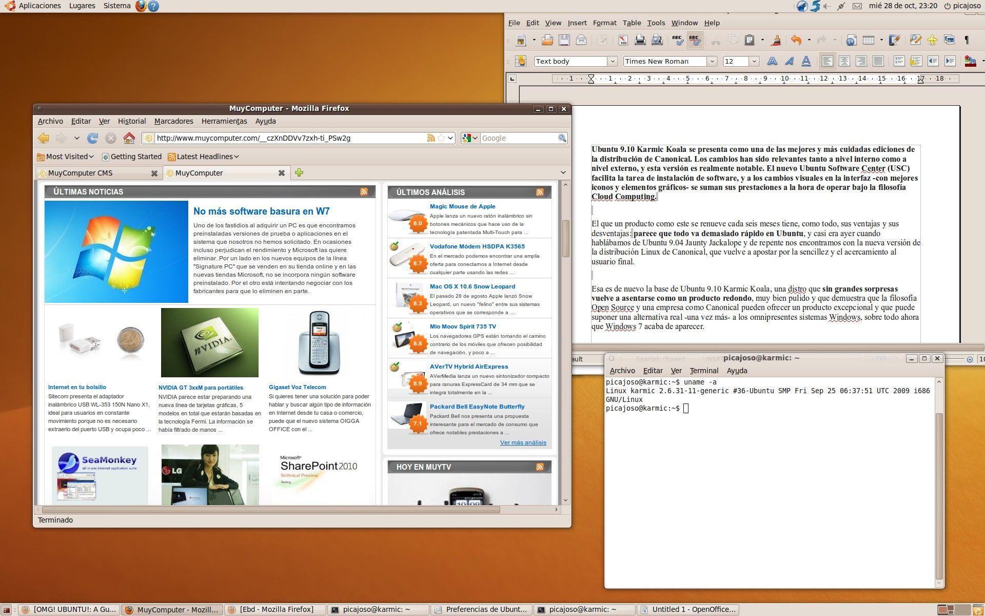 Ubuntu 9.10 Karmic Koala - Escritorio 2