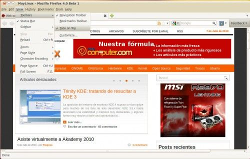 Firefox 4.0 Beta 1 disponible: Mozilla mima a Windows