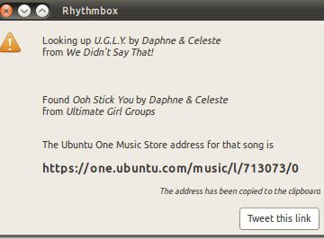 Ubuntu 10.10 - Alpha 3 - Tweets Rythmbox