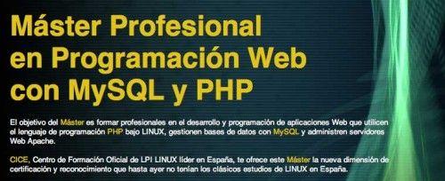 Máster profesional en programación web con MySQL y PHP