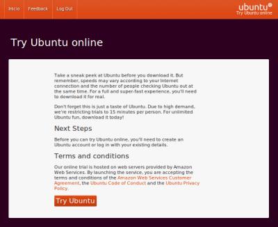 Try Ubuntu 11.04 Prueba Ubuntu 11.04 en el navegador