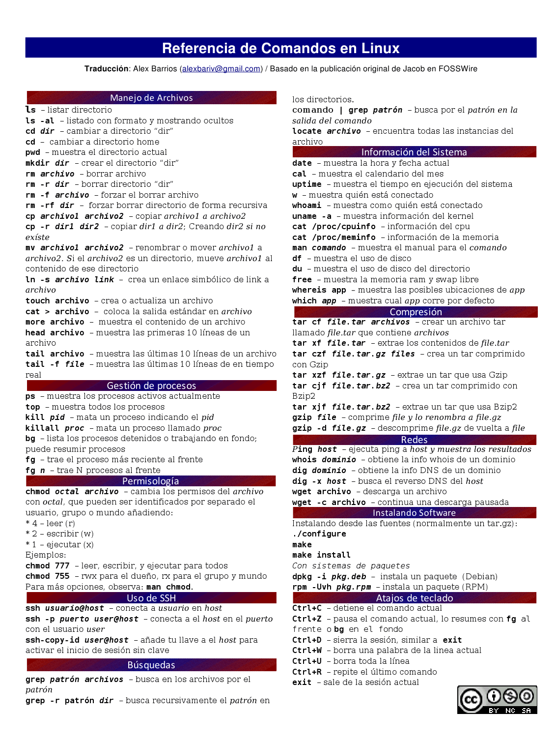 Comandos basicos de linux en español.
