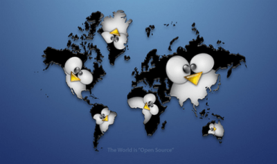 The Linux world Linux large world map