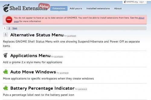 gnome shell extensions 500x331 El sitio web para las GNOME Shell Extensions ya está en el aire