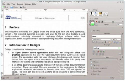 Calligra 2.4 llega tras más de un año de espera