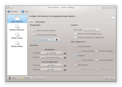 kde49 window behaviour settings 500x360Calidad y estabilidad, las dos banderas de KDE 4.9