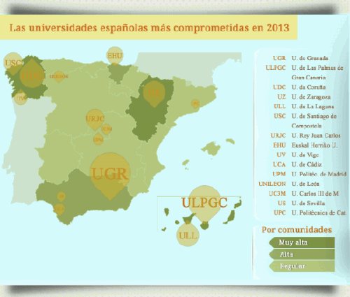 map 500x425 What Spanish universities collaborate more in the dissemination of free software?