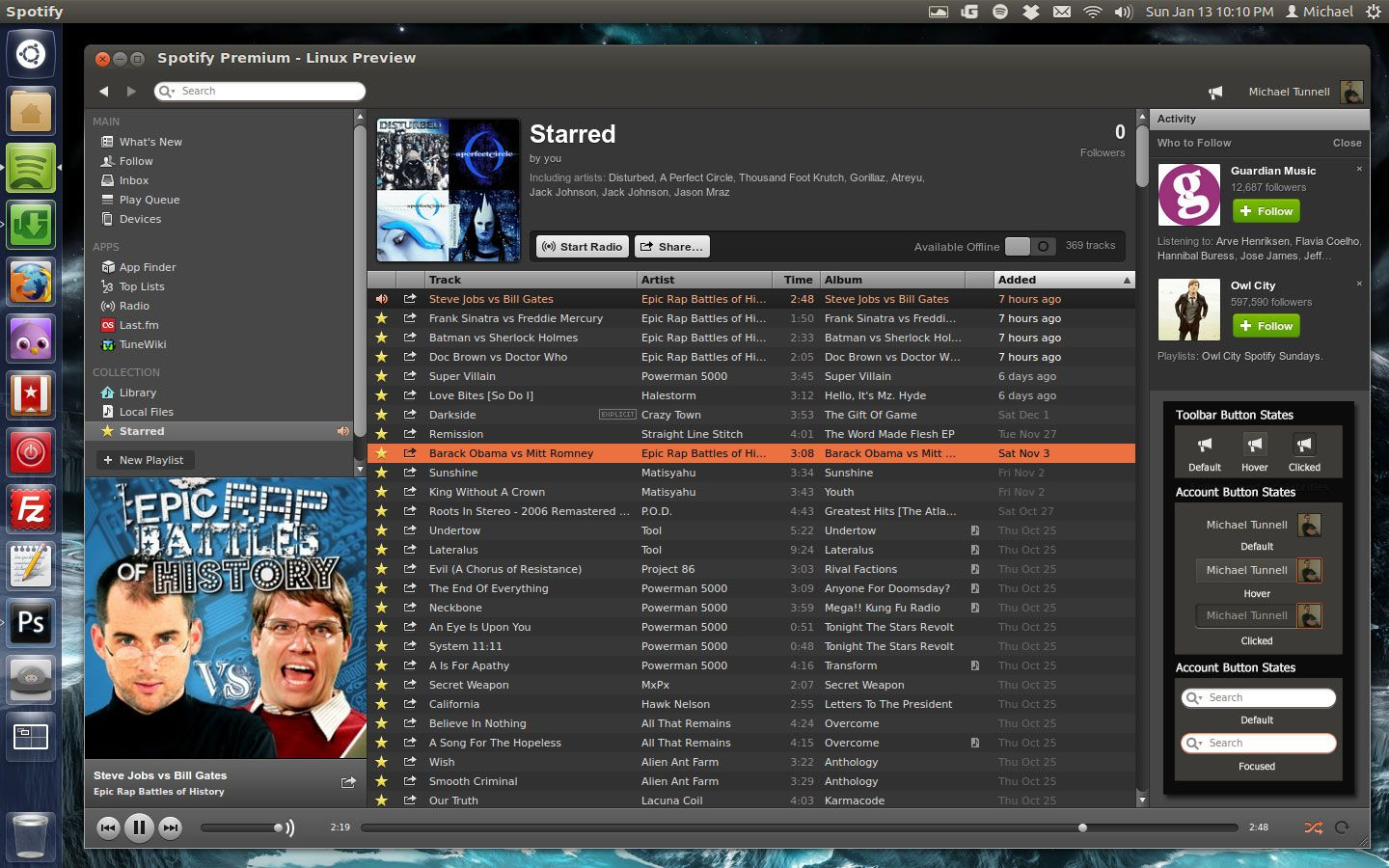 spotify-ubuntu-ambiance-theme-preview
