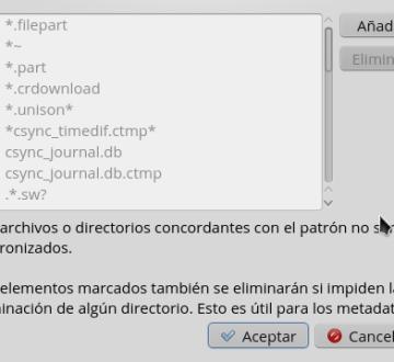 Tipos de archivos ignorados