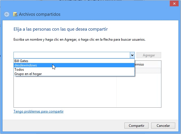Usuario compartiendo Windows