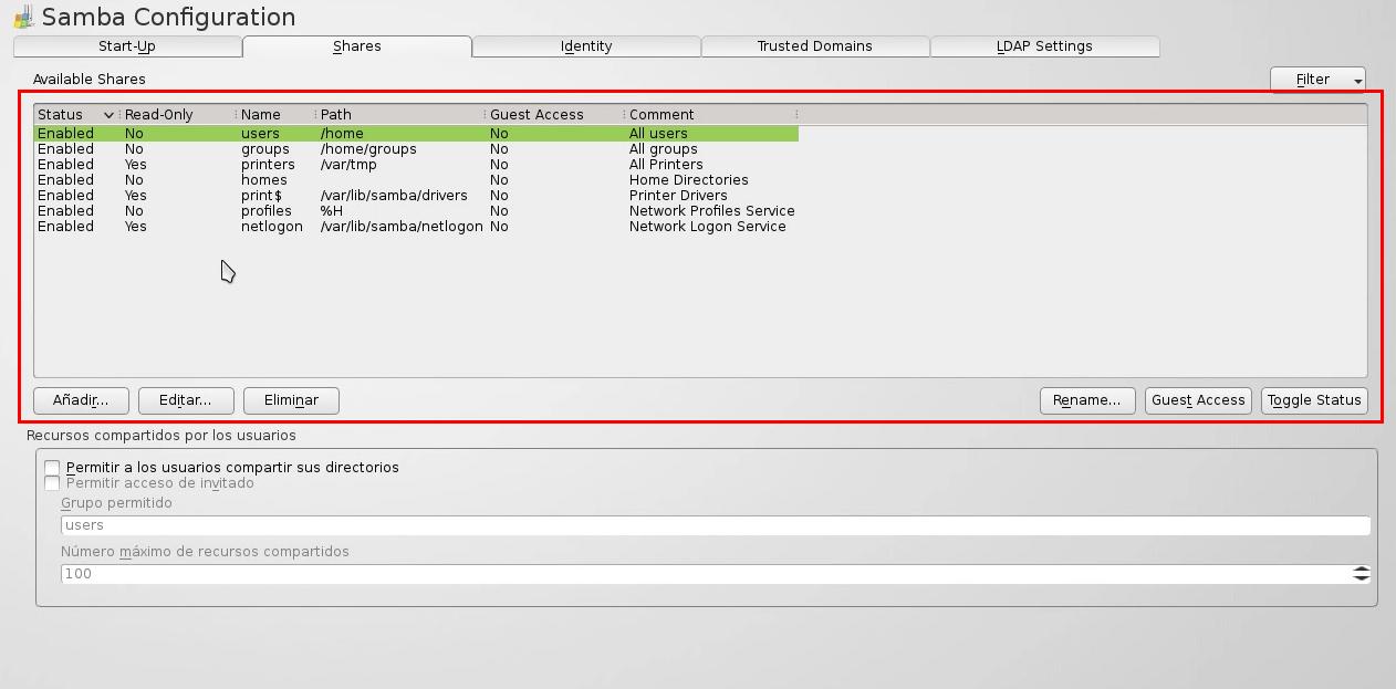 Recursos Samba openSUSE