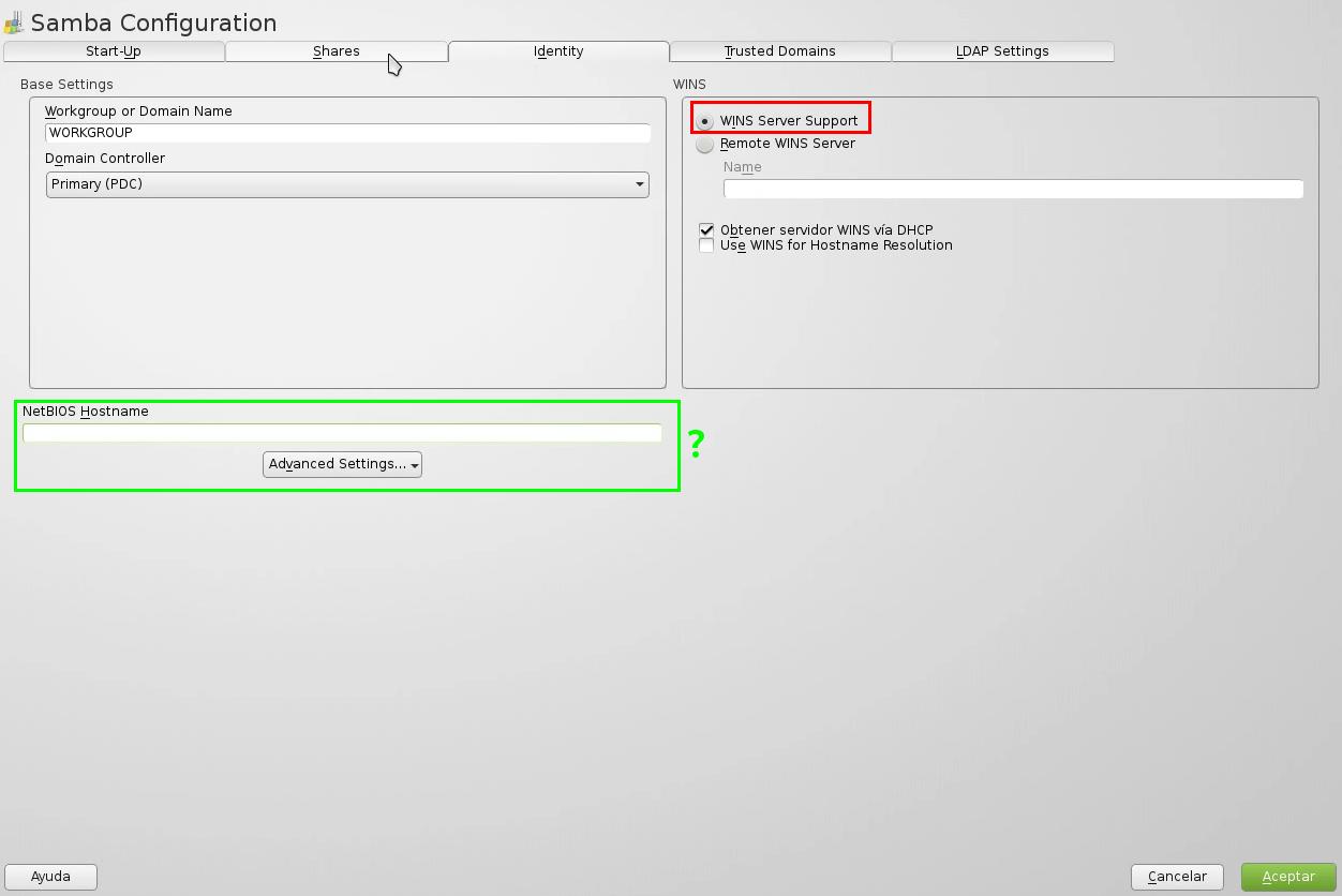 Identity Samba openSUSE Yast