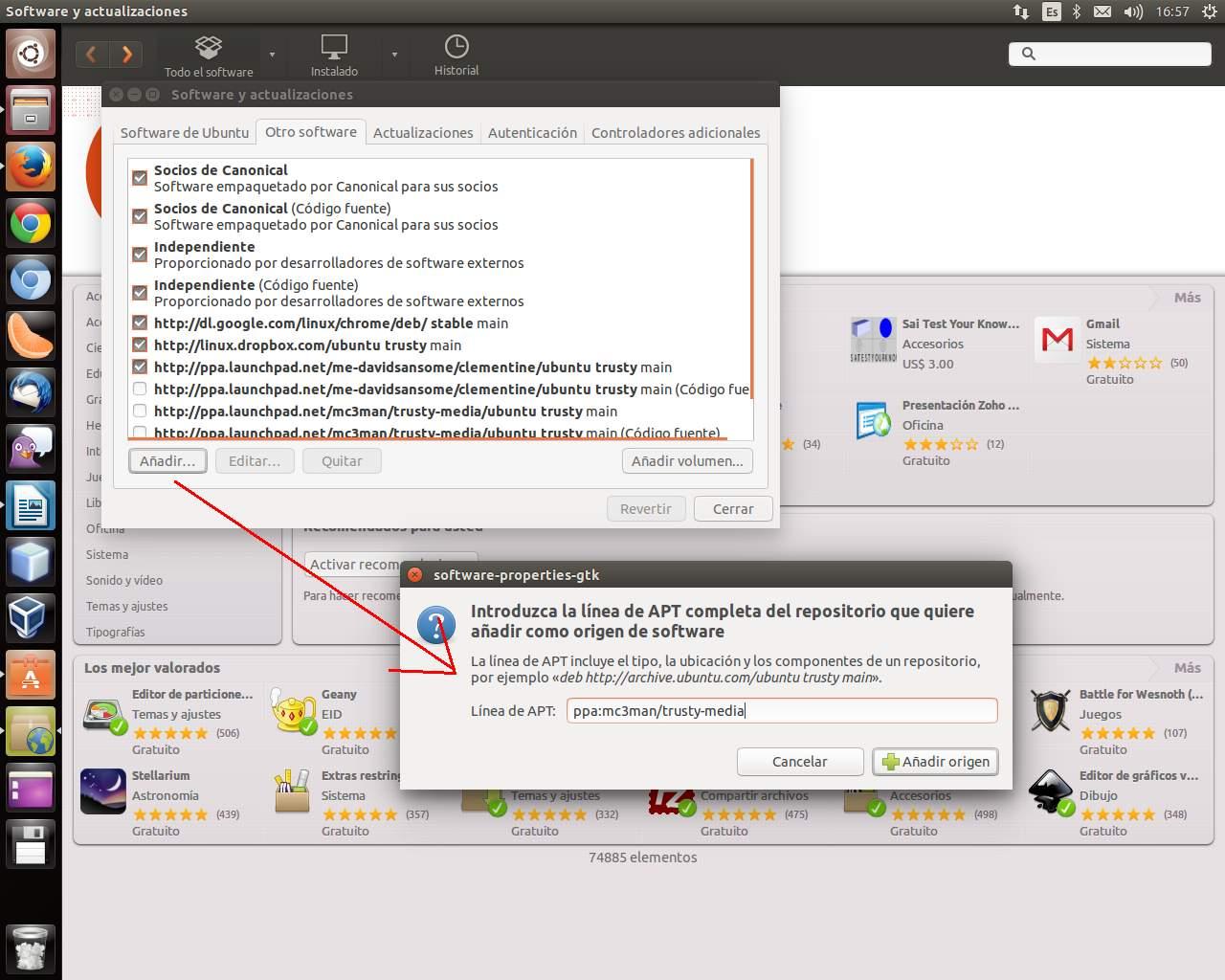 Añadir PPA Gstreaer 0-1 desde el Centro de Software de Ubuntu