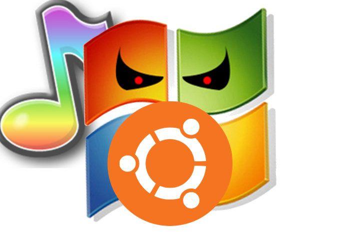 Evil Windows trying to intimidate Ubuntu
