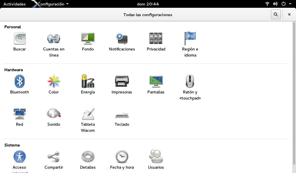 Configuración de GNOME Shell