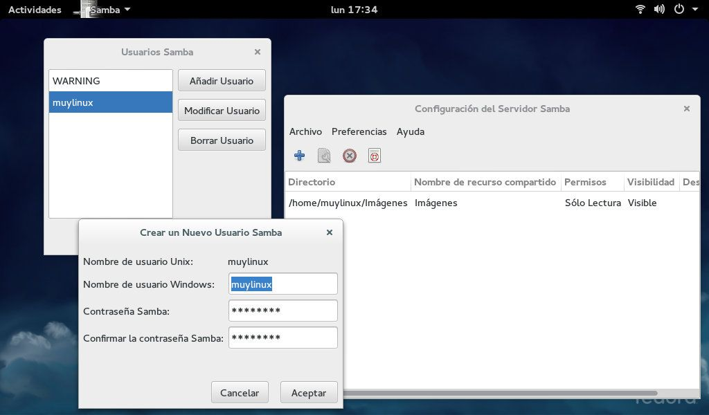 System Config Samba en Fedora 21