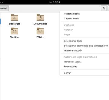 Opciones de Files, sucesor de Nautilus