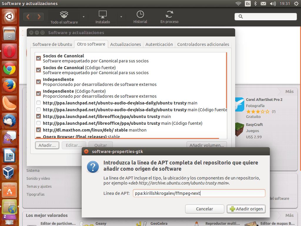 Añadir la PPA de Kyrill de forma gráfica desde el Centro de Software de Ubuntu
