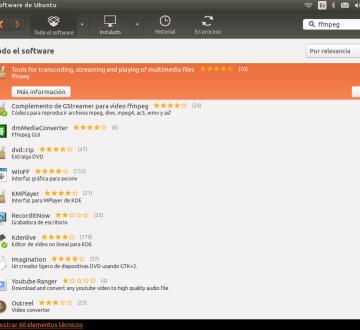 Instalar ffmpeg desde el Centro de Software de Ubuntu