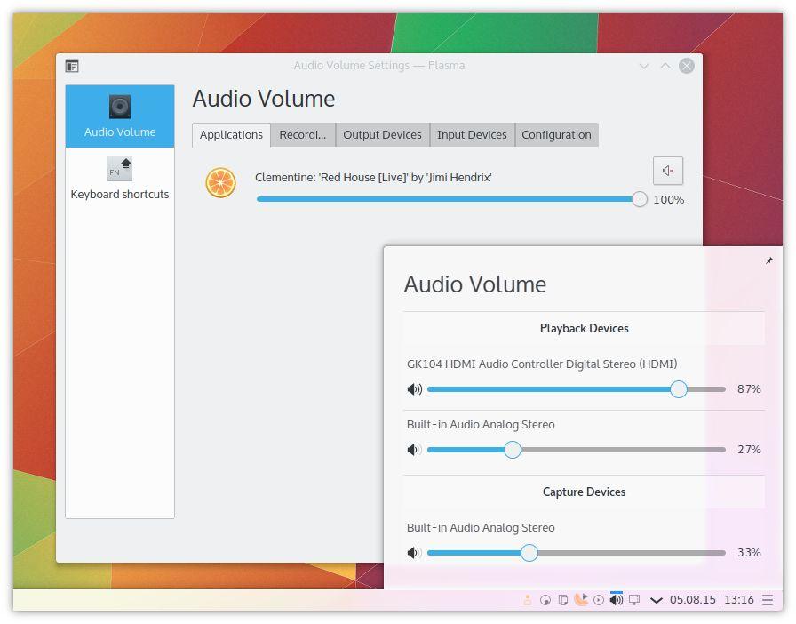 Applet sonido Plasma 5.4