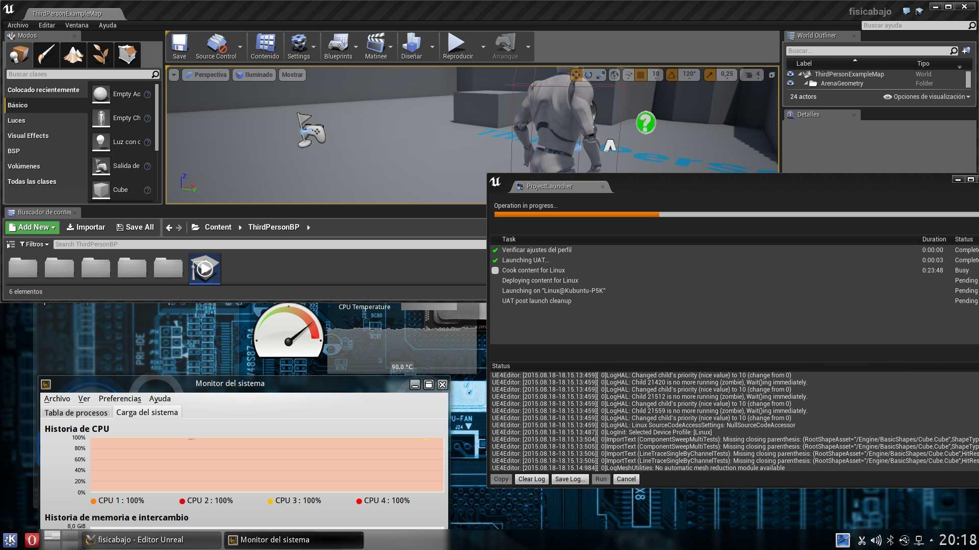 Mi CPU Intel Core 2 Quad mientras publica un juego con Unreal Engine