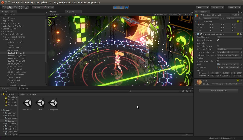 Editor de Unity trabajado Unity 3D sobre Ubuntu con el entorno de escritorio Unity