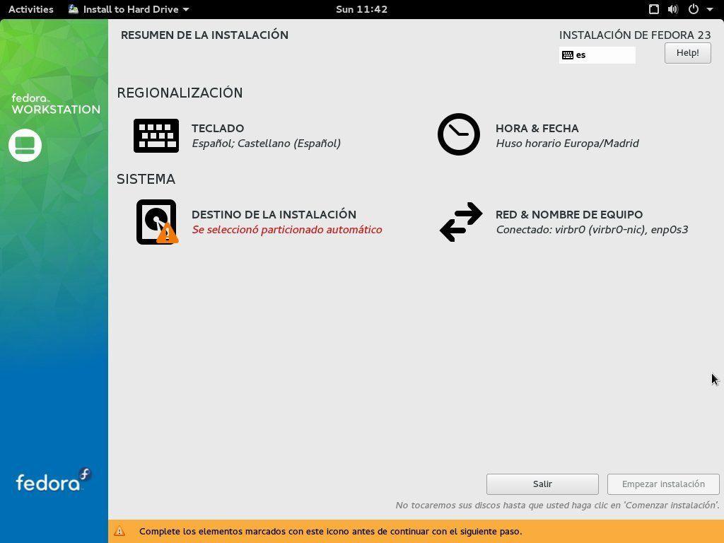 Instalador de Fedora 23 Workstation
