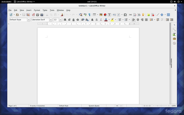 LibreOffice 5 viene sin traducir en Fedora 23 Workstation