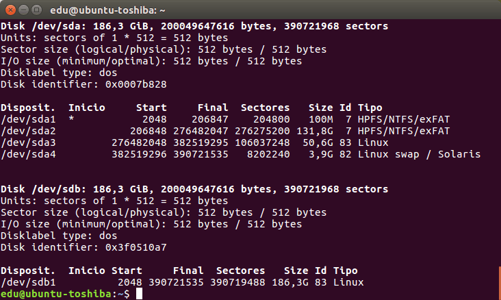 Información básica sobre las particiones de Ubuntu 16.04 LTS sobre un Toshiba Satellite Pro P200