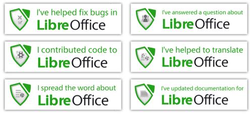 Insignias de reconocimiento de LibreOffice
