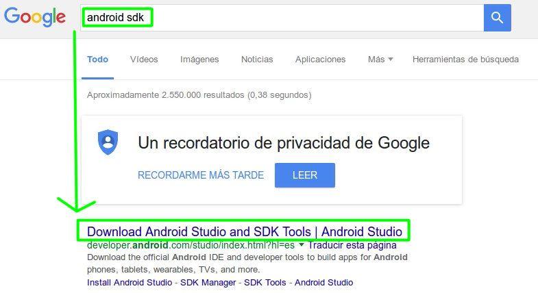 12 Descargar Android SDK desde Google