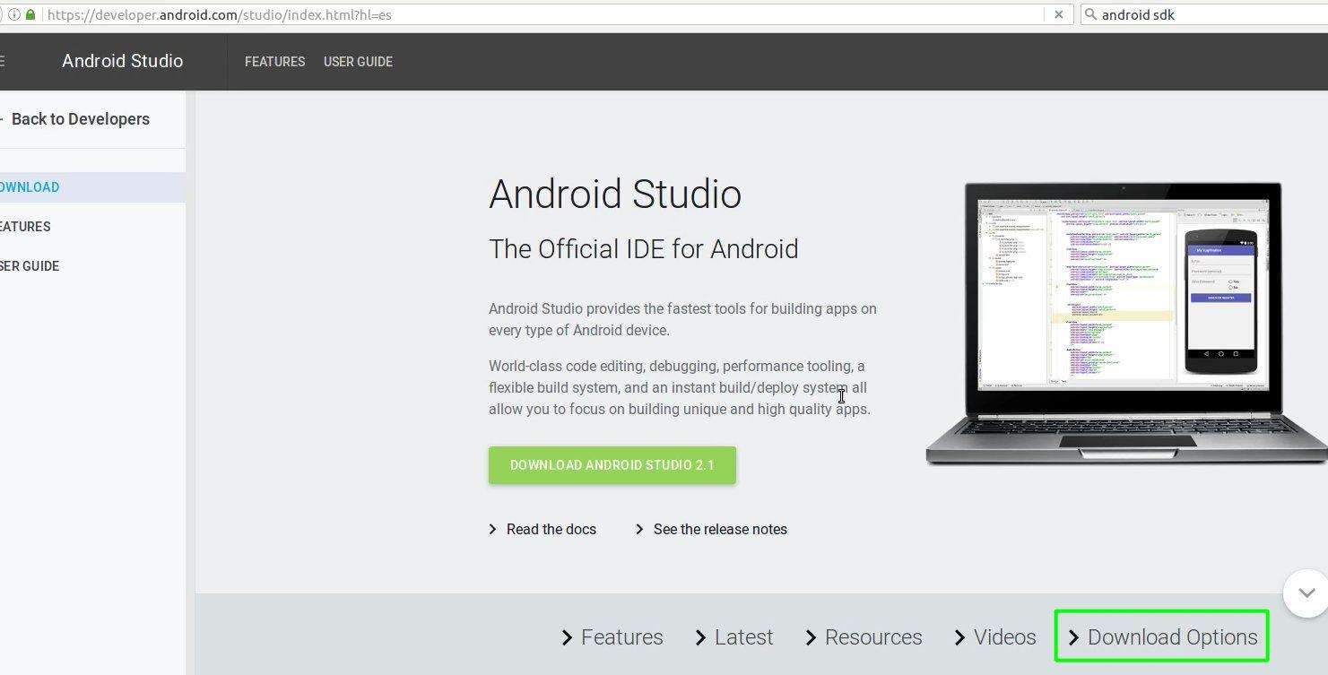 13 Descargar el SDK de Android desde el sitio web
