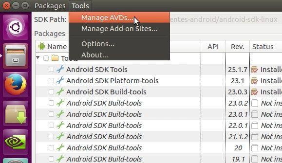 17 Dirigirse a la configuracion de los AVD en el SDK de Android