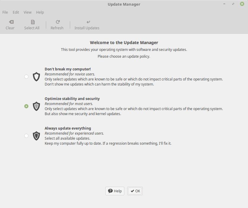Política de actualizaciones de Linux Mint 18