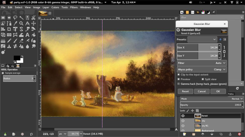 Previsualización del efecto de un filtro en GIMP 2.9.4