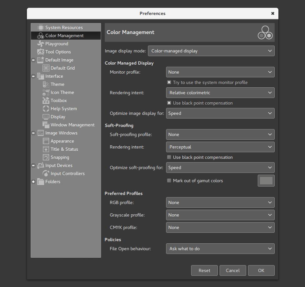 Gestión de color en GIMP 2.9.4