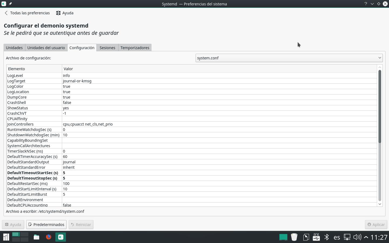 Configuración del apagado en systemd desde Manjaro KDE