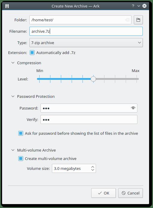 Configurando tipo de compresion, nivel de compresion, contraseña y division del fichero en Ark de KDE