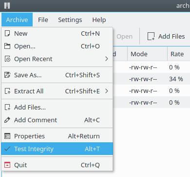 Verificación de integridad del fichero comprimido en Ark 16.08