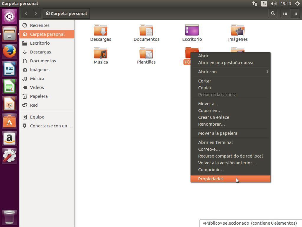 Acceder las propiedades de una carpeta en Ubuntu
