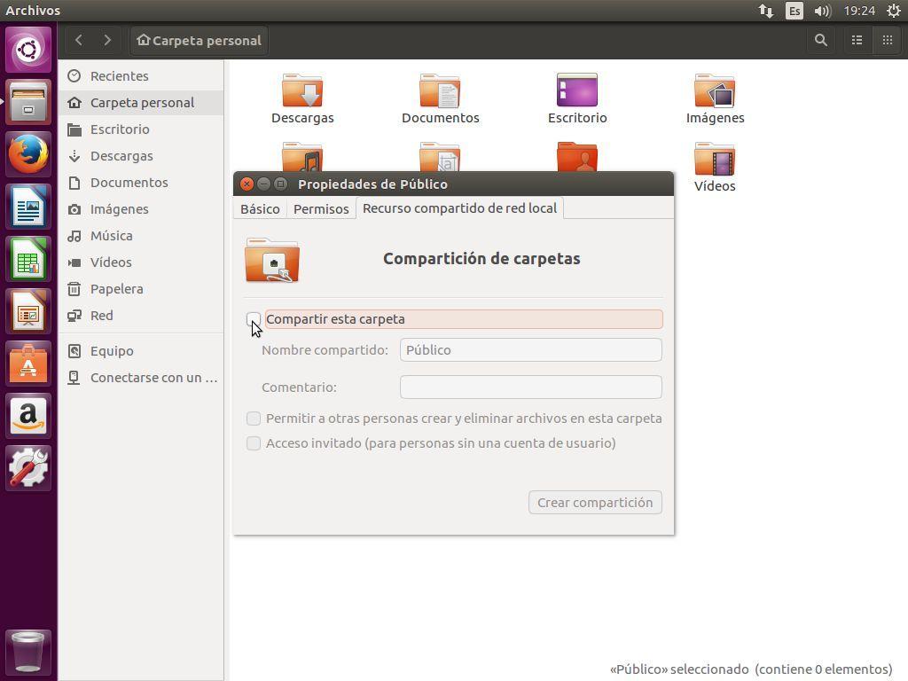 Pulsar sobre la pestaña compartir para iniciar la instalación del servidor Samba en Ubuntu 16.04