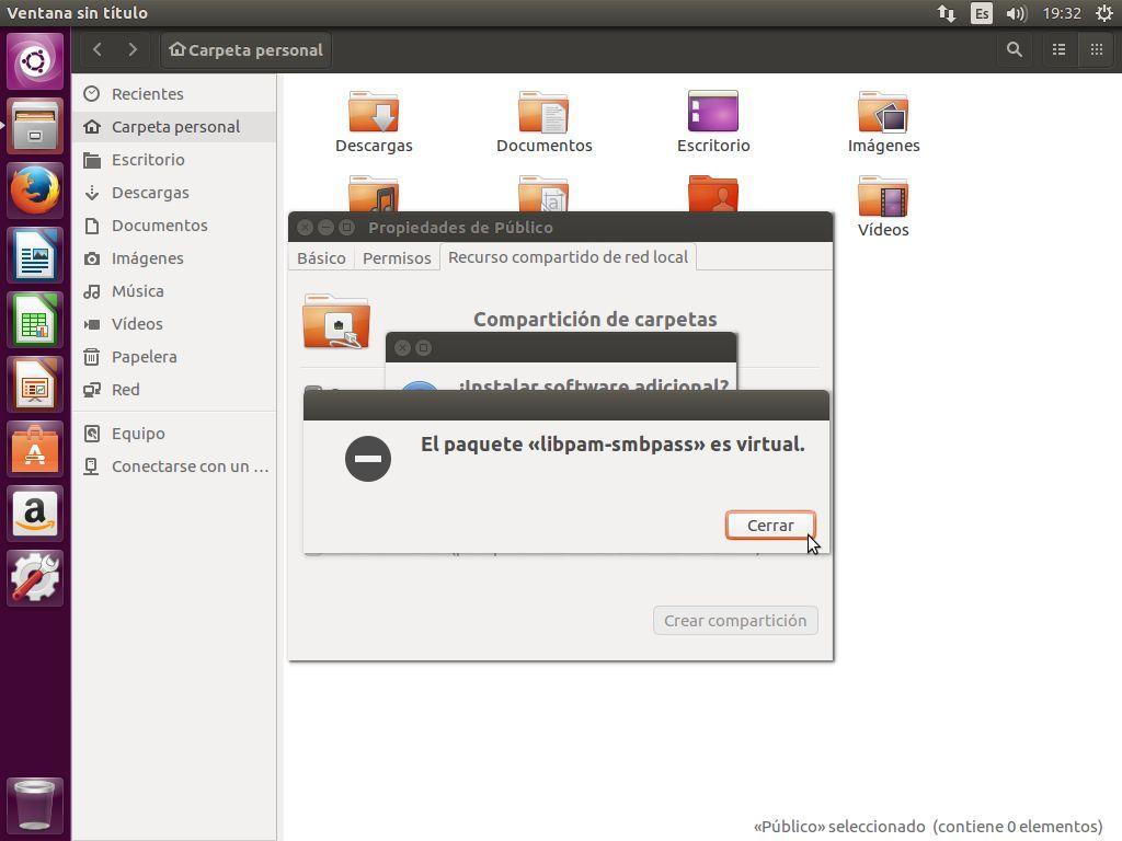 Samba ya instalado en Ubuntu 16.04