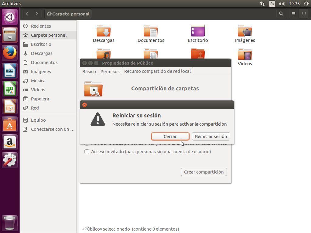 No hace falta reiniciar sesión tras instalar Samba en Ubuntu 16.04