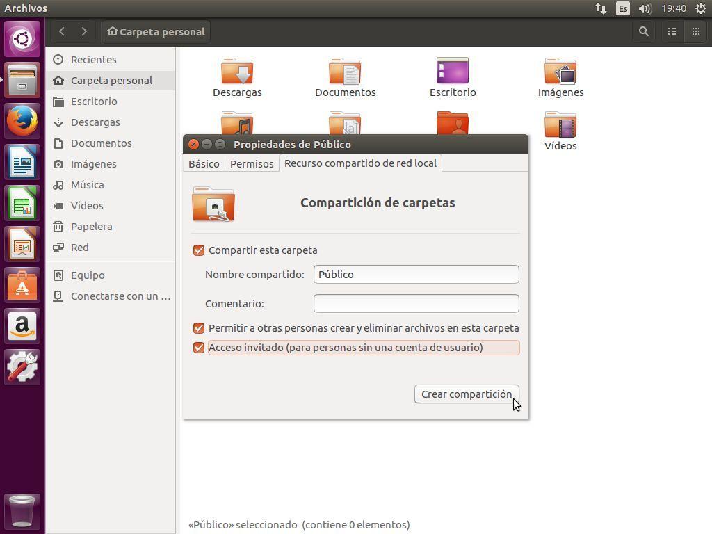 Creando un nuevo recurso compartido en Samba desde Ubuntu 16.04