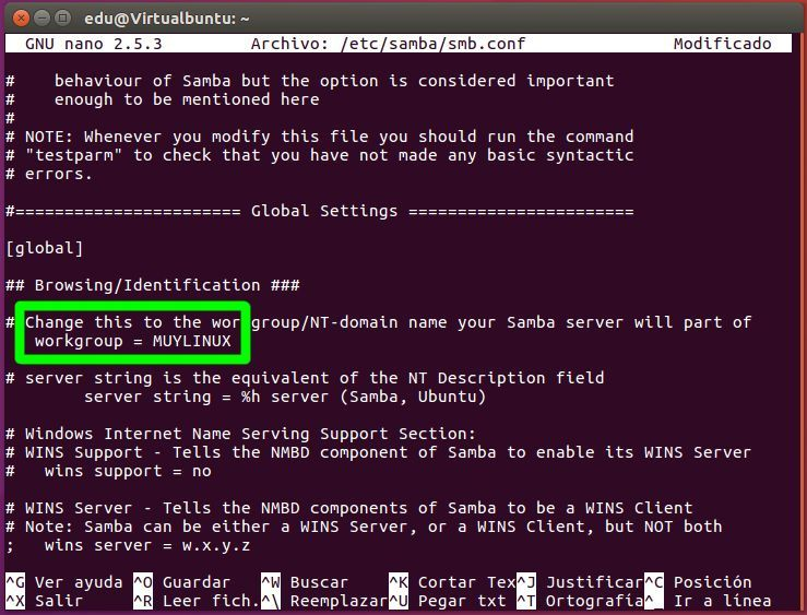 Cambiar el grupo de trabajo en Samba sobre Ubuntu 16.04
