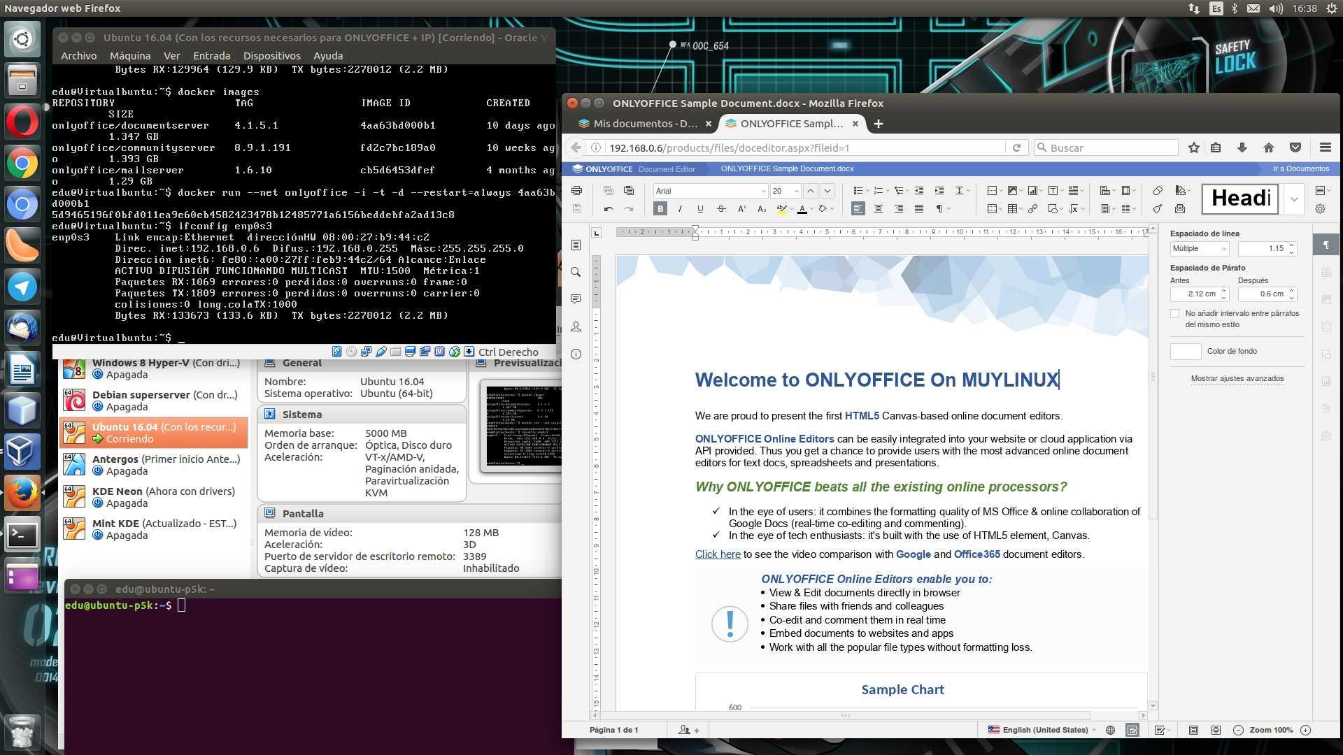 Editando un documento de prueba en ONLYOFFICE Document Server