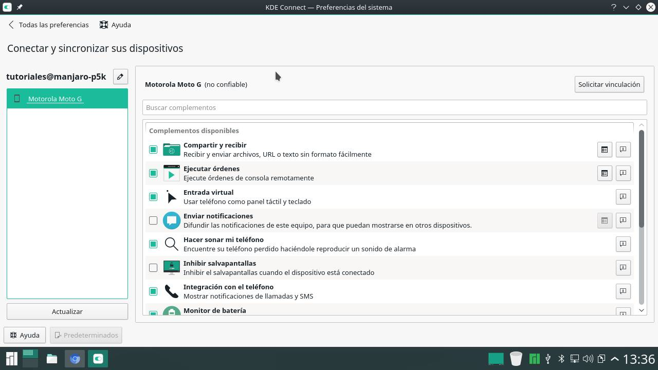 Solicitar vinculación a través de KDE Connect