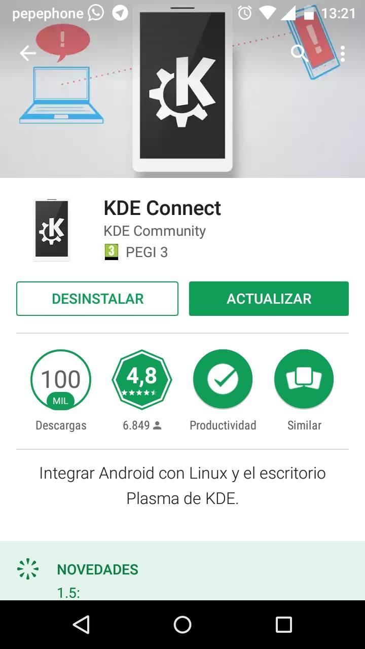 Hay que tener el smartphone conectado a traves de Wi-Fi para sacar partido a KDE Connect
