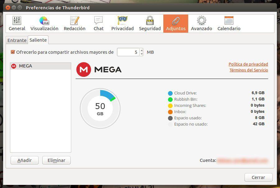 Cuenta de MEGA configurada a través de MEGAbird para Thunderbird