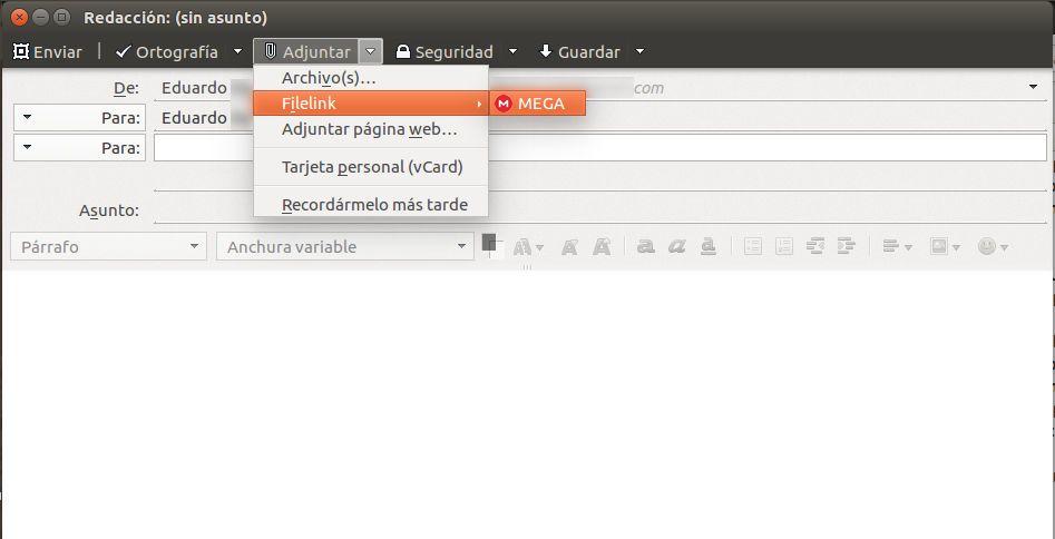 Adjuntando ficheros utilizando la característica filelink y el servicio de MEGA (MEGAbird para Thunderbird)